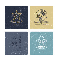 Grunge seafood labels line style collection vector