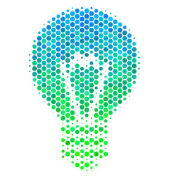 Halftone blue-green electric bulb icon vector