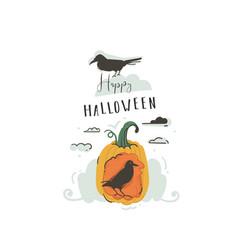 hand drawn abstract cartoon happy halloween vector image