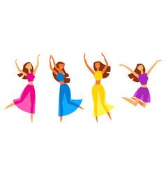 happy dansing girls vector image