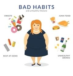 Happy fat woman vector