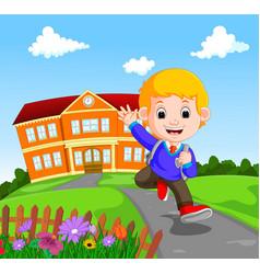 Happy little kids going to school vector
