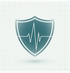 Healthcare medical shield with heartbeat lines vector