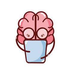 Icon adorable kawaii brain reading book vector