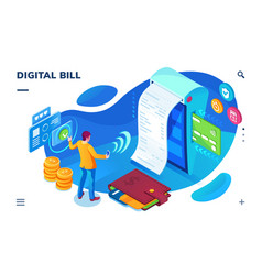 isometric bill paying screen digital payment vector image