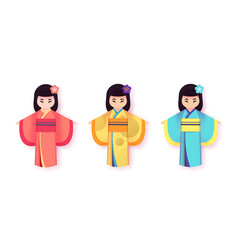 japanese women in traditional clothing kimono set vector image