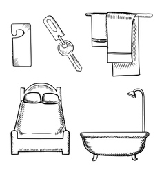 Key door tag bed bathroom and towels sketch vector