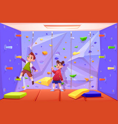 kids climbing wall playing in recreation area vector image