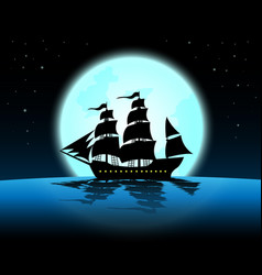 large marine in the night of full moonblue ocean vector image