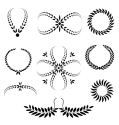 Laurel wreath tattoo set Black stylized ornaments vector image
