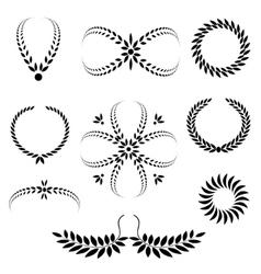 Laurel wreath tattoo set Black stylized ornaments vector image vector image