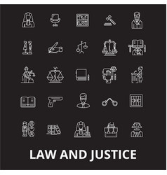 law and justice editable line icons set on vector image
