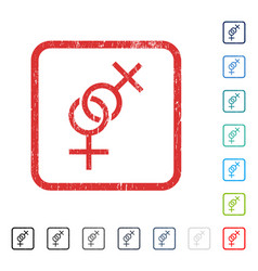 Lesbian love symbol icon rubber watermark vector