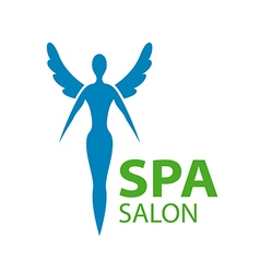 logo girl with wings for the spa salon vector image