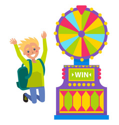 male student spinning roulette wheel and winning vector image