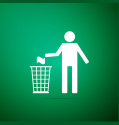 man throwing trash into dust bin icon isolated vector image