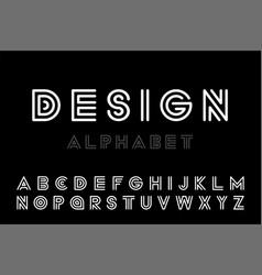 modern designer striped font - minimalistic vector image