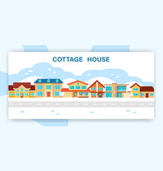 Modern winter cottage house vector