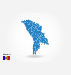 moldova map design with 3d style blue moldova map vector image