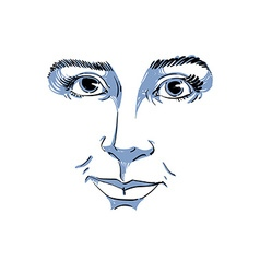 Monochrome art drawing portrait of gorgeous dreamy vector