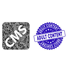 mosaic cms icon with textured adult content stamp vector image