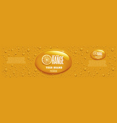 orange juice packaging with many juice drops vector image