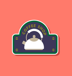 Paper sticker on stylish background coffee shop vector