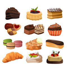 pastry icons vector image