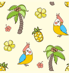Pattern with palm tree and parrot vector