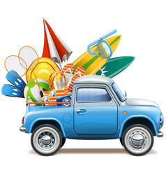Pickup truck with beach accessories vector
