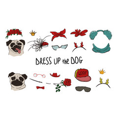 Pug dog couple portraits with accessories vector
