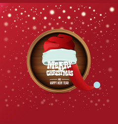 red santa hat with circle wooden board sign vector image
