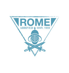 Rome arrival ink stamp on passport vector
