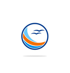 Round beach seagul ocean logo vector