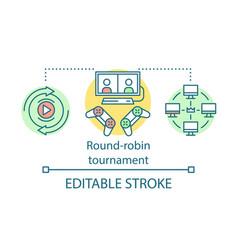 round-robin tournament concept icon vector image