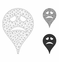 Sadly smiley map marker mesh wire frame vector