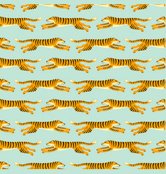 seamless exotic pattern with tigers design vector image
