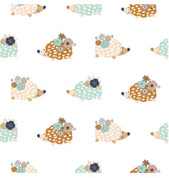 Seamless pattern with hedgehogs vector