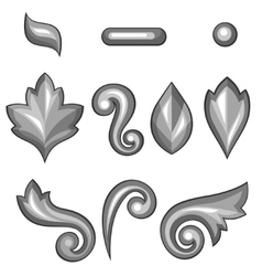 Set of baroque ornamental floral silver elements vector image