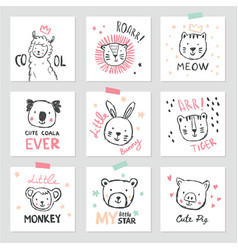 set of interior posters with cute animals vector image
