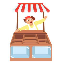 Shop showcases with seller store vector