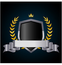 Silver shield with laurel wreath crown and ribbon vector