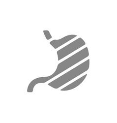 Sore human stomach grey icon abdominal distention vector