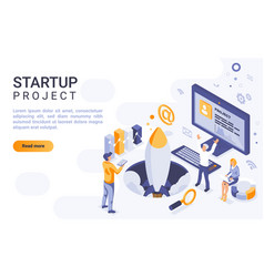 startup project landing page isometric vector image
