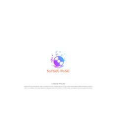 sunrise sunset with disc music logo design vector image