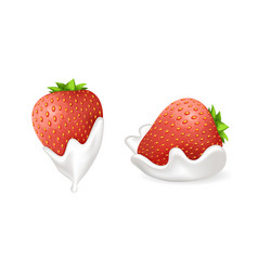 Tasty strawberries in fresh whipped cream set vector