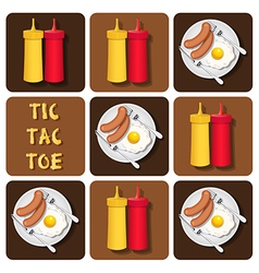 Tic-tac-toe sausage and fried egg and seasoning vector
