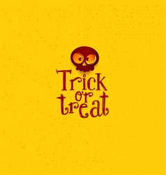 Trick or treat tag with cartoon skull vector