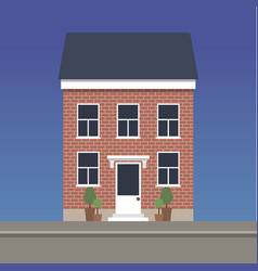 Two-story classic house made red brick vector