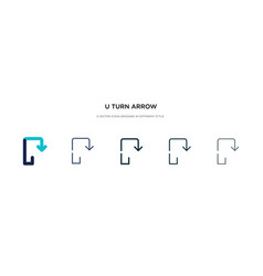 U turn arrow icon in different style two colored vector